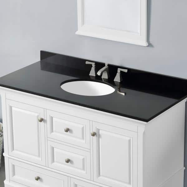 Home Decorators Collection Moorpark 49 In W Bath Vanity In White With Granite Vanity Top In Black With White Basin Moorpark 49w The Home Depot