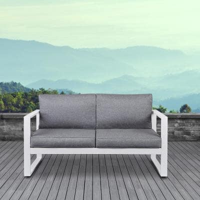 Baltic White Powder Coated Aluminum Outdoor Loveseat with Gray Cushions