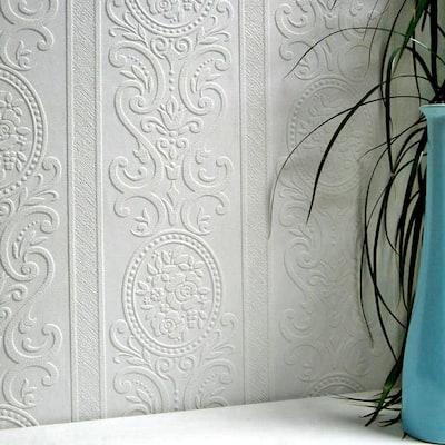 Louisa Paintable Textured Vinyl White & Off-White Wallpaper Sample