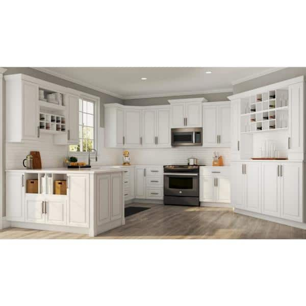 Hampton Bay Hampton Satin White Raised Panel Stock Assembled Base Kitchen Cabinet With Drawer Glides 27 In X 34 5 In X 24 In Kb27 Sw The Home Depot