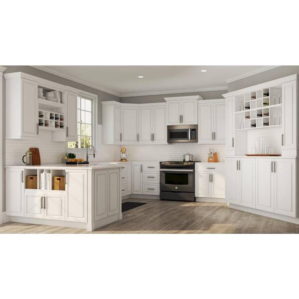 Hampton Bay Satin White Raised, 36 Inch Wide Tall Kitchen Cabinet