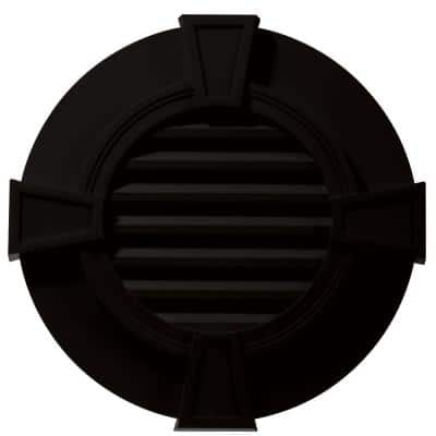 30 in. x 30 in. Round Black Plastic Built-in Screen Gable Louver Vent