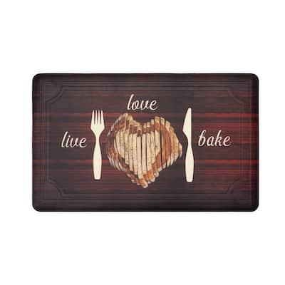 Live Love Bake 20 in. x 32 in. Anti-Fatigue Gelness Kitchen Mat
