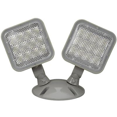 2-Light 60-Watt Equivalent Integrated LED Gray Emergency Light 6500K Daylight 2.4-Watt