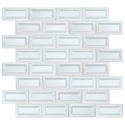 White Glossy Inverted Beveled 3 in. x 6 in. Glossy Ceramic Wall Tile (1 sq. ft. / case)