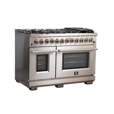 Capriasca 48 in. 6.58 cu. ft. Gas Range with 8-Gas Burners and Double Electric 240-Volt Oven in Stainless Steel