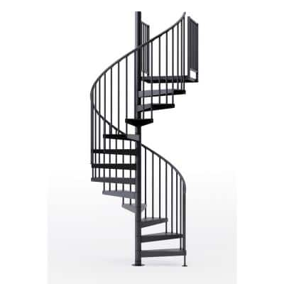 Condor Black Interior 60in Diameter, Fits Height 102in - 114in, 2 36in Tall Platform Rails Spiral Staircase Kit