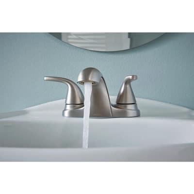 Adler 4 in. Centerset 2-Handle Bath Faucet with 3-Piece Hardware Set in Spot Resist Brushed Nickel (24 in. Towel Bar)