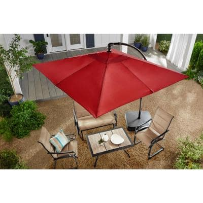 8 ft. Square Aluminum Cantilever Offset Outdoor Patio Umbrella in Chili Red