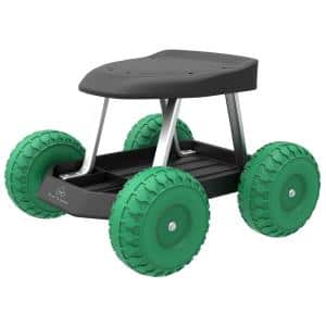 Pure Garden Polyurethane Wheeled Rolling Garden Work Scooter with Tool-Tray