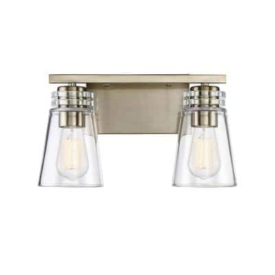 2-Light Noble Brass Bath Vanity Light with Clear Glass