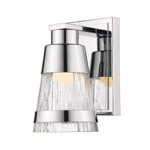 Chrome LED Sconce with Chisel Glass
