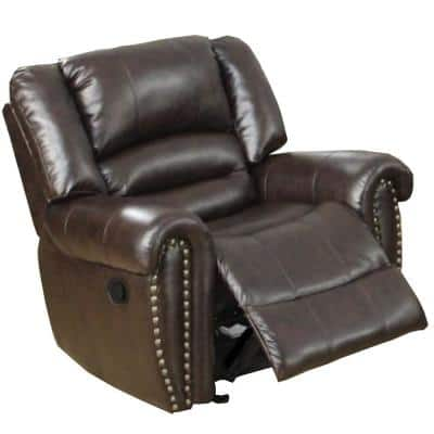Individual Brown Fun Bonded Leather and Plywood Recliner/Glider