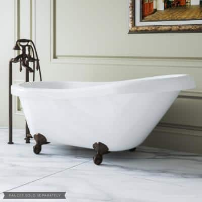 60 in. Acrylic Slipper Clawfoot Bathtub in White, Ball-and-Claw Feet and Drain Assembly in Oil Rubbed Bronze