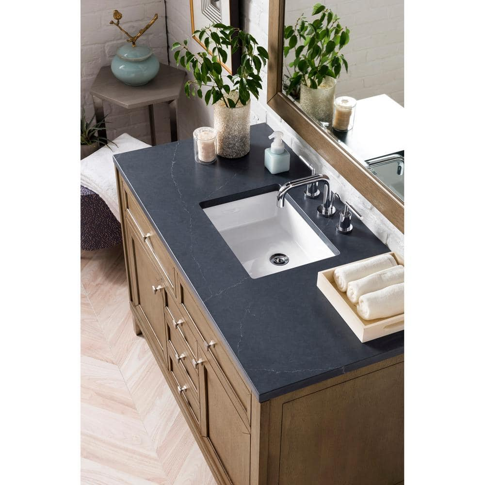 James Martin Vanities Chicago 48 In Single Vanity In Whitewashed Walnut With Quartz Vanity Top In Charcoal Soapstone With White Basin 305 V48 Www 3csp The Home Depot