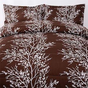 2-Pieces Brown Luxury Printed Microfiber Twin Comforter Set