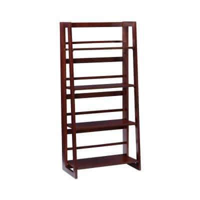Angela 48 in. Walnut Wood 4-Shelf Folding Accent Bookcase with Fixed Shelves