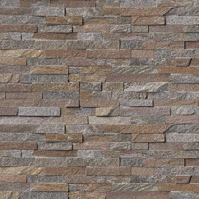 Amber Falls 6 x 16 x 8 in. Natural Stacked Stone Veneer Corner Siding Exterior/Interior  Wall Tile (2-Box/11 sq ft)