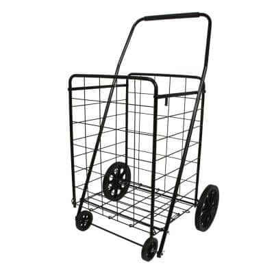 Black Metal Cleaning Cart with 4-Wheel Utility Wheels and Handle