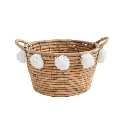 Oval Natural Water Hyacinth Decorative Basket with White Pompom Balls