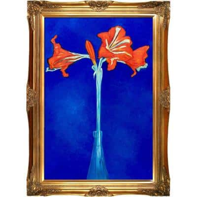 """""""Amaryllis with Victorian Gold Frame"""" by Piet Mondrian Oil Painting"""