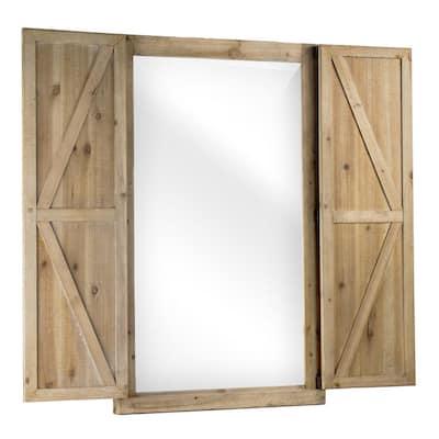 Medium Arch Brown Modern Mirror (35.75 in. H x 22 in. W)