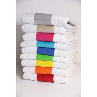 Tropical Cabana 100% Cotton Beach Towel in Orange (2-Pack)