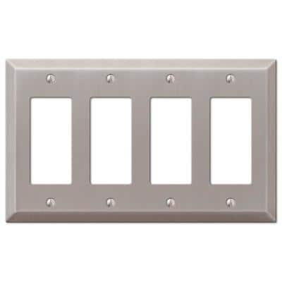 Metallic 4 Gang Rocker Steel Wall Plate - Brushed Nickel