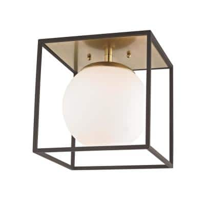 Aira 1-Light Aged Brass and Black Small Flush Mount with Opal Etched Glass and Black Accents