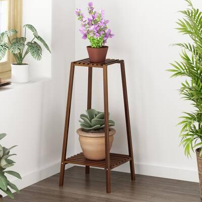 2-Tier Shelf Flower Pot Plant Stand Bamboo Wooden Rack Garden Indoor Outdoor Balcony Living Room
