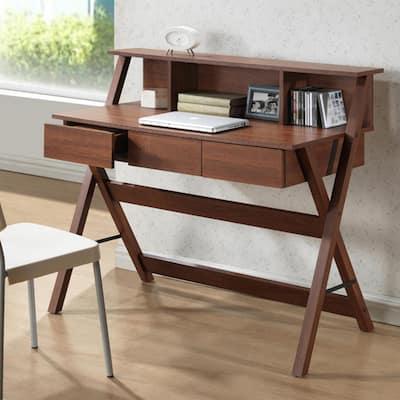 43.2 in. Oak Rectangular 3 -Drawer Writing Desk with Drawers