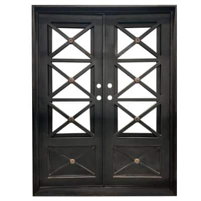 73.5 in. x 81 in. 2-Panel Right-Hand/Inswing Full Lite Clear Glass Matte Black Finished Iron Prehung Front Door