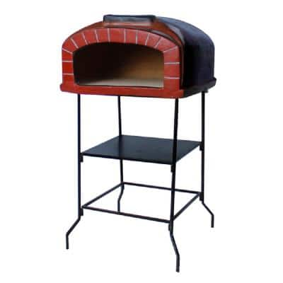 Vesuvius 26 in. Wood Burning Outdoor Pizza Oven with Red Brick on Stand