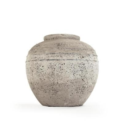Stone-Like Terracotta Taupe Large Decorative Vase