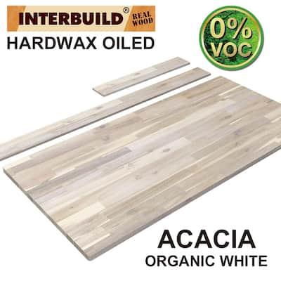 85 in. x 24 in. x 1 in. Acacia Vanity Top with Backsplash, Organic White