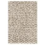 Hudson Shag Ivory/Gray 2 ft. x 3 ft. Geometric Striped Chevron Area Rug