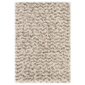 Hudson Shag Ivory/Gray 3 ft. x 5 ft. Geometric Striped Chevron Area Rug