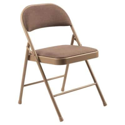 900 Star Trail Brown Fabric Padded Metal Frame Folding Chair (4-Pack)