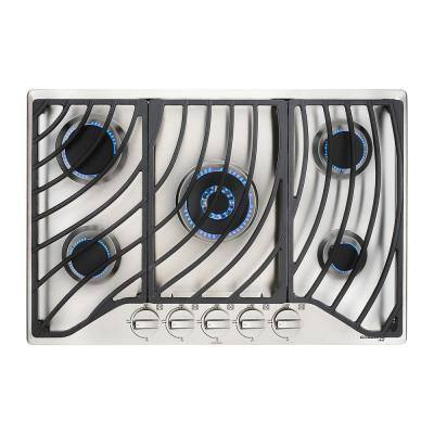 30 in. Built-in Gas Cooktop in Stainless Steel with 5 Burner Gas Hob, 30 in. Drop in Gas Cooker NG/LPG Convertible