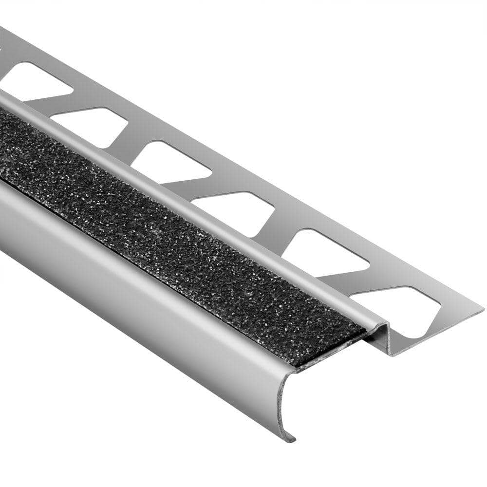 Schluter Systems Trep G S Brushed Stainless Steel Black 7 16 In X 4 Ft 11 In Metal Stair Nose Tile Edging Trim Gseb110gs 150 The Home Depot
