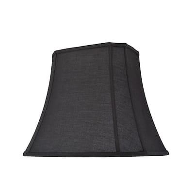 16 in. x 13 in. Black Oblong Cut Corner Bell Lamp Shade