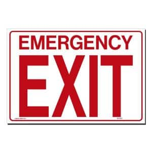 14 in. x 10 in. Decal Red on White Sticker Emergency Exit