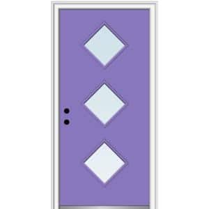 32 in. x 80 in. Aveline Right-Hand Inswing 3-Lite Clear Low-E Glass Painted Steel Prehung Front Door on 6-9/16 in. Frame
