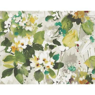 Chambon Watercolor Floral Teal, Hunter Green, Off-White, and Greige Paper Strippable Roll (Covers 60.75 sq. ft.)