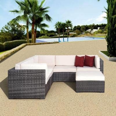 Clermont Grey 6-Piece All-Weather Wicker Patio Seating Set with Off-White Cushions