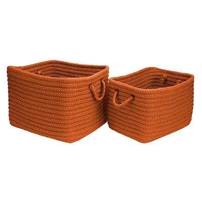Modern Mudroom Polypropylene Storage in Orange (Set of 2)