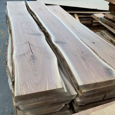 2 in. x 12-16 in x 8 ft. Walnut Live Edge Sawn Board