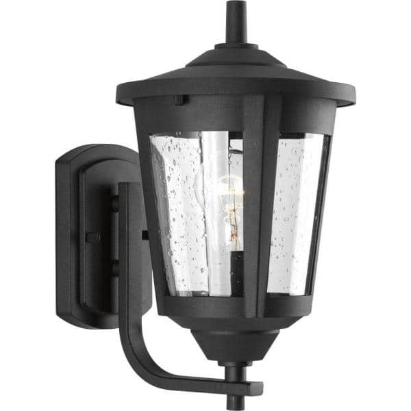 Progress Lighting East Haven Collection 1 Light Textured Black Clear Seeded Glass Transitional Outdoor Medium Wall Lantern Light P6074 31 The Home Depot