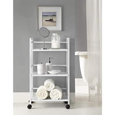 Knoll View White 3-Shelf Metal Rolling Utility Cart