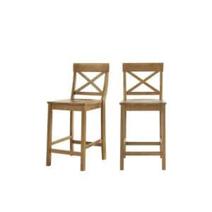 Cedarville Patina Oak Finish Counter Stool with Cross Back (Set of 2) (19.42 in. W x 38.22 in. H)